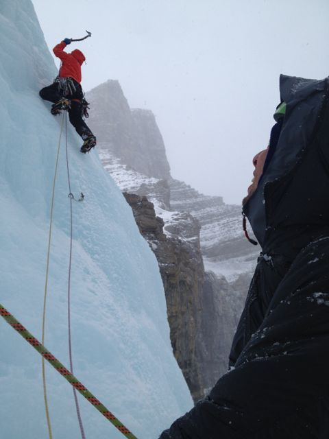 Tim belaying Dan up the final pitch of Murchison Falls, on the Icefields Parkway in Alberta.