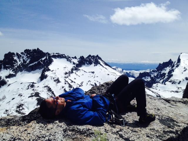 Dan chillaxing on the summit of Prusik.